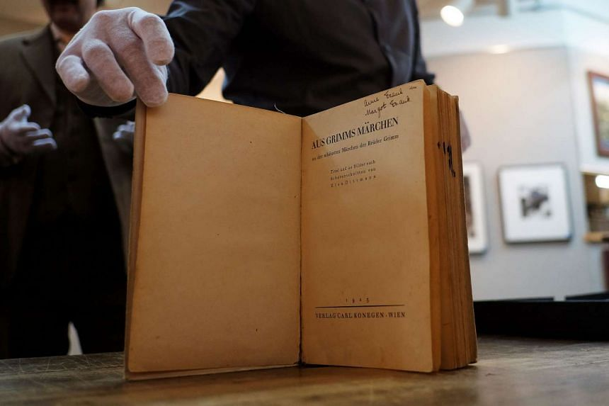 Anne and Margot Frank's copy of Grimm's Fairy Tales (Aus Grimms Märchen), is pictured at Swann Auction Galleries in New York.
