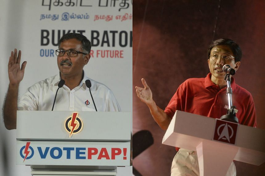 The People's Action Party's Mr Murali (left) said he would not only speak up in Parliament but also solve residents' problems on the ground, while Dr Chee of the Singapore Democratic Party said he would be an effective voice in Parliament and promise