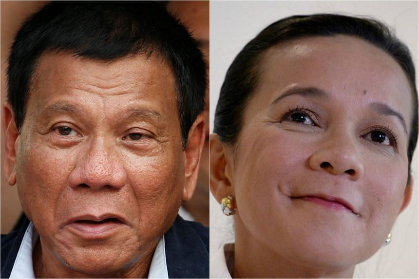 Philippine presidential candidates Rodrigo Duterte (left) and Grace Poe.