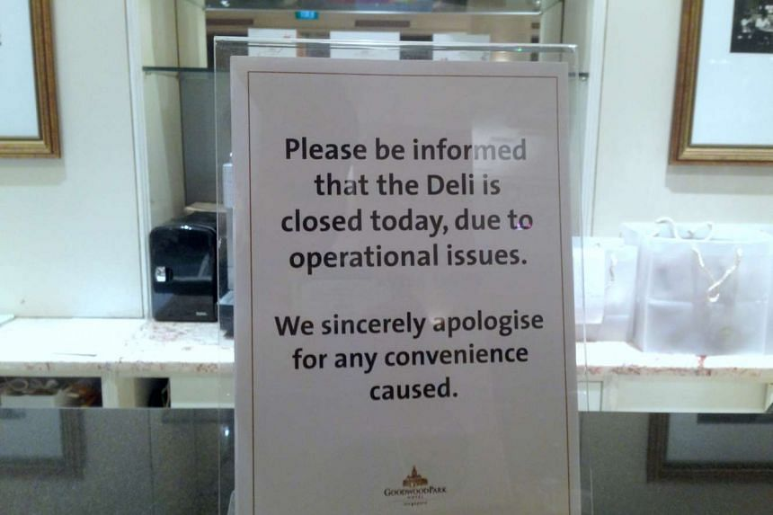 A notice put up on April 22 to inform the public that Goodwood Park Hotel's bakery is closed, due to operational issues.
