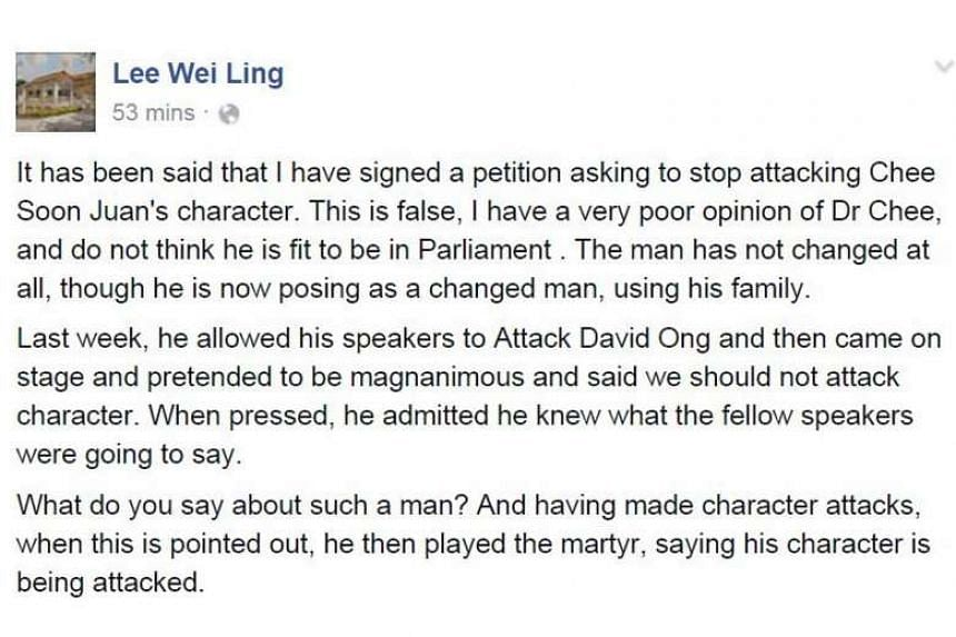Dr Lee Wei Ling's Facebook post, which denied she had signed a petition calling for the personal attacks on SDP chief Chee Soon Juan to stop.