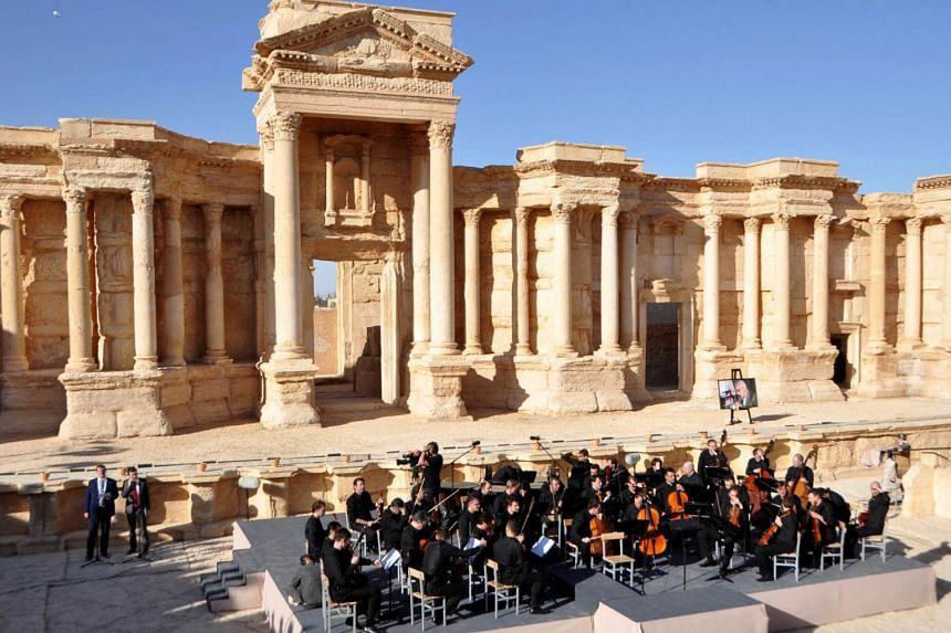 Russia's Mariinsky Theatre performs at the amphitheatre of the Syrian city of Palmyra, Syria, in this handout picture provided by SANA on May 5, 2016.