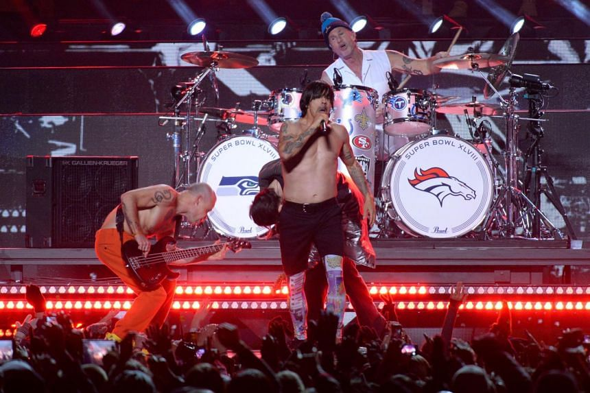Red Hot Chili Peppers performing during Super Bowl 48 at MetLife stadium in East Rutherford, New Jersey, on Feb 2, 2014.