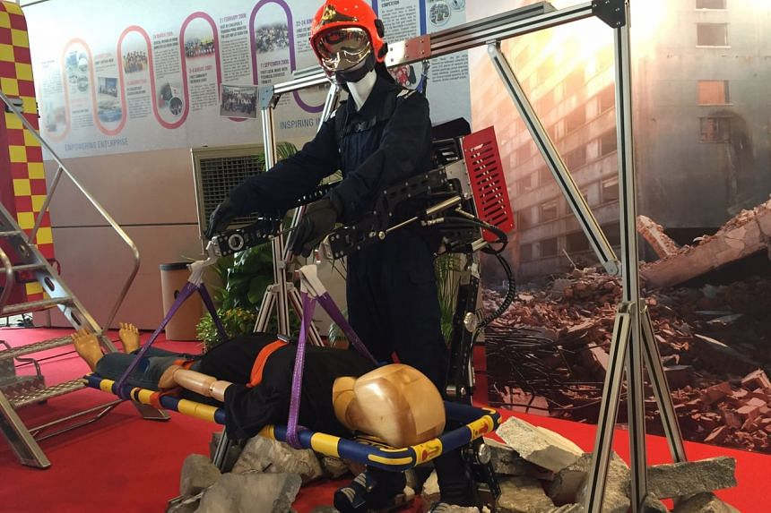 The exoskeleton is a wearable mechanical harness that firefighters can wear to help them carry casualties and heavy loads.