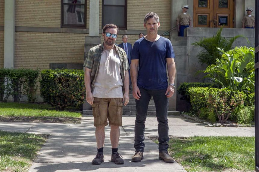 Eric Bana (right) and Ricky Gervais are like chalk and cheese in the movie, and bicker all the way through.