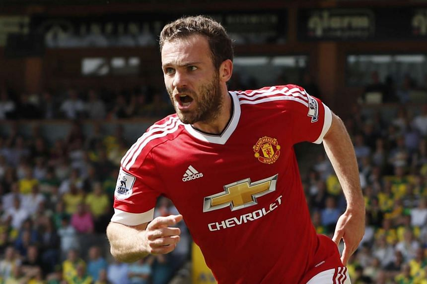 Juan Mata celebrates scoring a goal for Manchester United, in a match against Norwich City, on May 7, 2016.