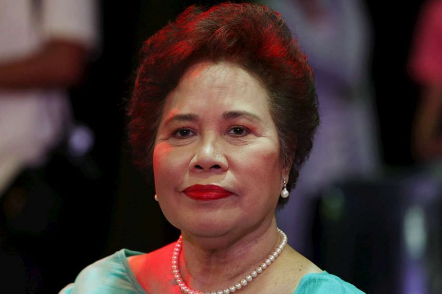 Philippine presidential candidate Miriam Santiago arrives at St Louis University for an election campaign, on April 16, 2016.