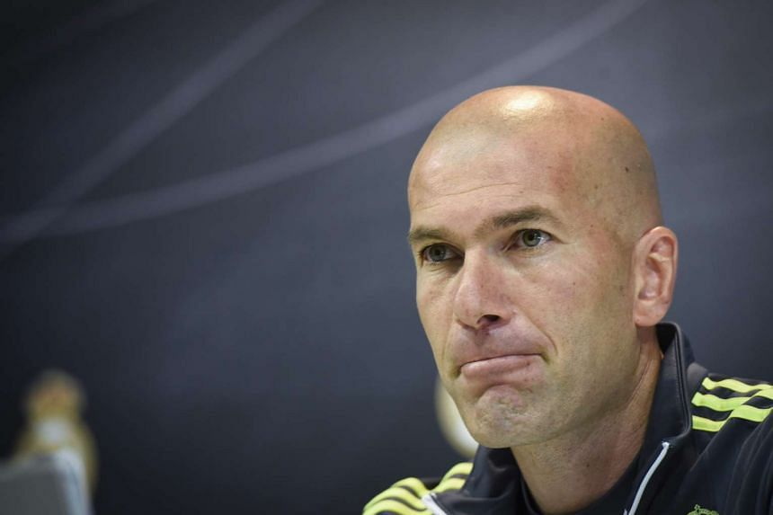 Real Madrid's head coach Zinedine Zidane at a press conference after leading a team's training session on May 7, 2016.