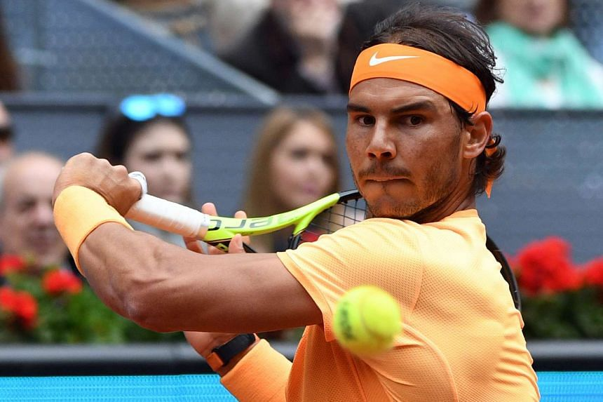 Rafael Nadal playing at the men's semi-final of the Madrid Open tournament at the Caja Magica (Magic Box) sports complex, on May 7, 2016.
