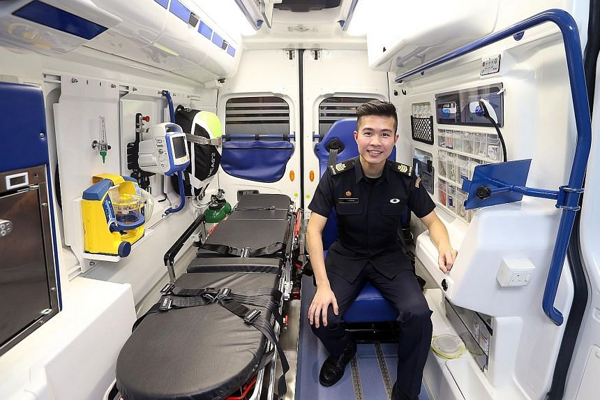 SSG Yeo in the new ambulance, which has a seamless interior that can be quickly decontaminated.