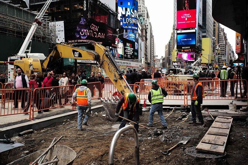 A construction site in New York City. The US Labour Department yesterday said gains in construction employment slowed sharply last month, with the sector adding 1,000 jobs, after home building showed some signs of fatigue.