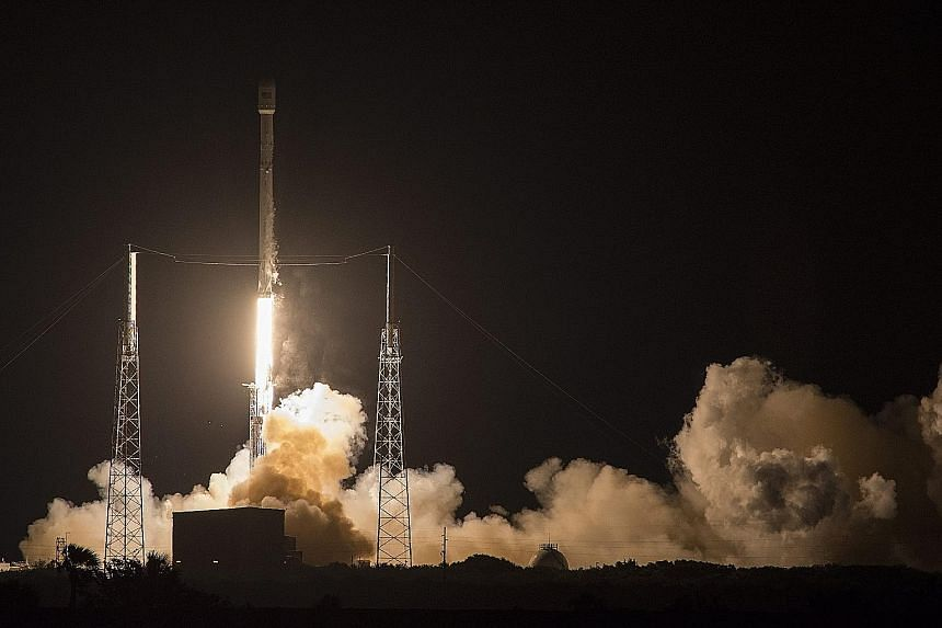 A SpaceX Falcon 9 rocket carrying a Japanese communications satellite lifting off from Florida yesterday. The rocket later landed on an autonomous ship at sea - the second time it has been accomplished by SpaceX, which is headed by Internet entrepren