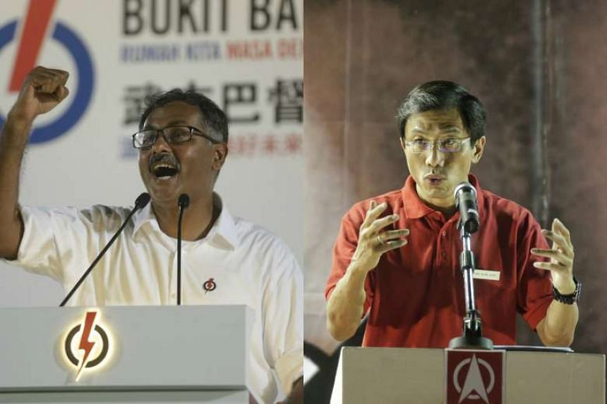 Bukit Batok by-election candidates Murali Pillai (left) and Chee Soon Juan speaking at rallies.
