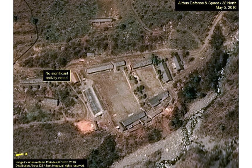 The Punggye-ri test site in North Korea is seen in an image from Airbus Defense and Space and 38 North taken on May 5, 2016, and released on May 6, 2016.