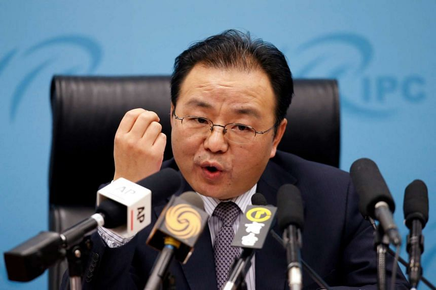 Senior Chinese diplomat Ouyang Yujing speaking at a briefing on China's stance on the South China Sea, in Beijing, China, on May 6, 2016.