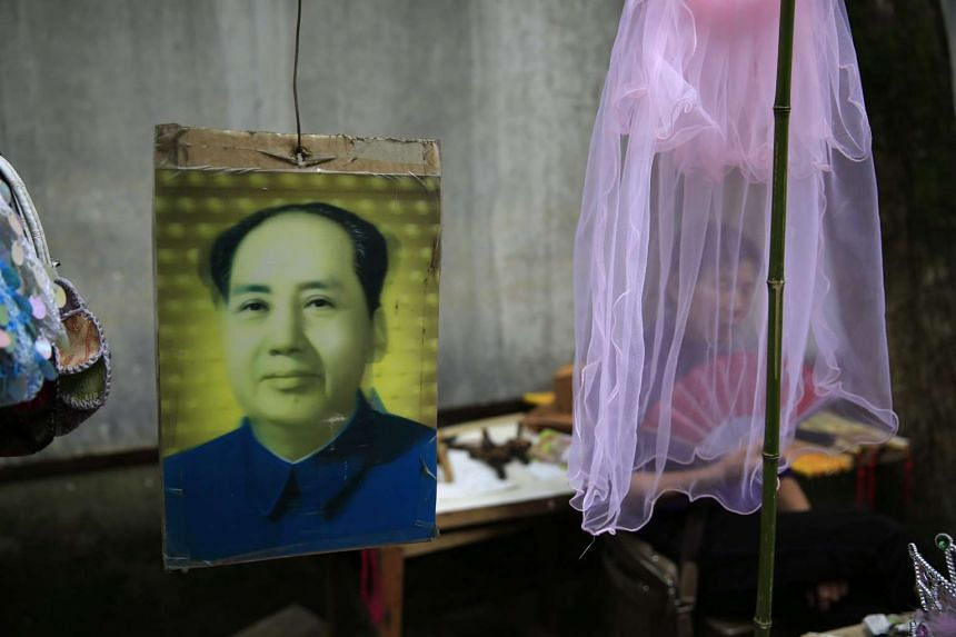 A stall selling Mao Zedong souvenirs in Shaoshan, Hunan Province, on April 28.