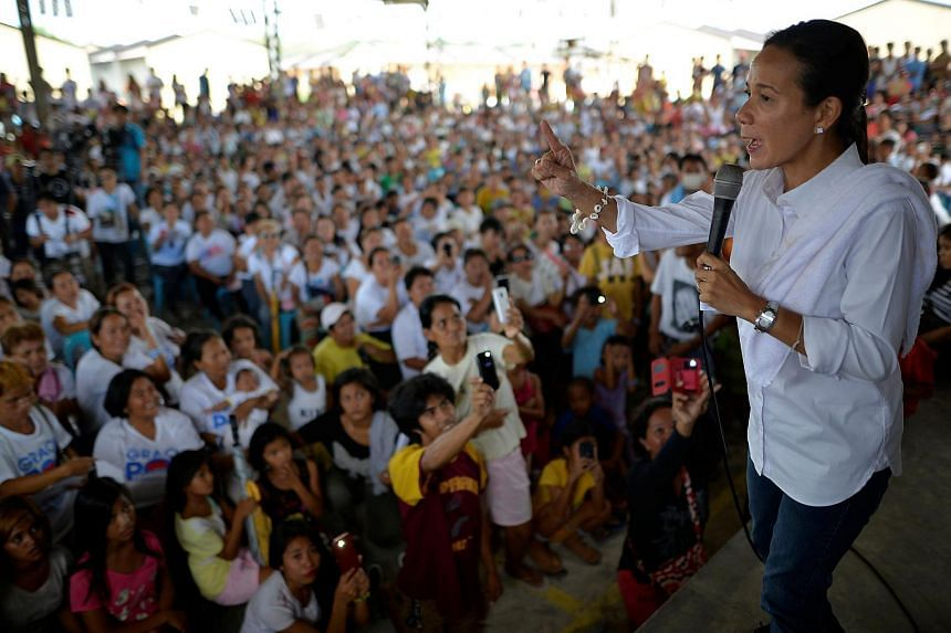 Presidential candidate Grace Poe speaking to supporters during an election campaign in Pandi, Bulacan in northern Philippines on May 6, 2016.