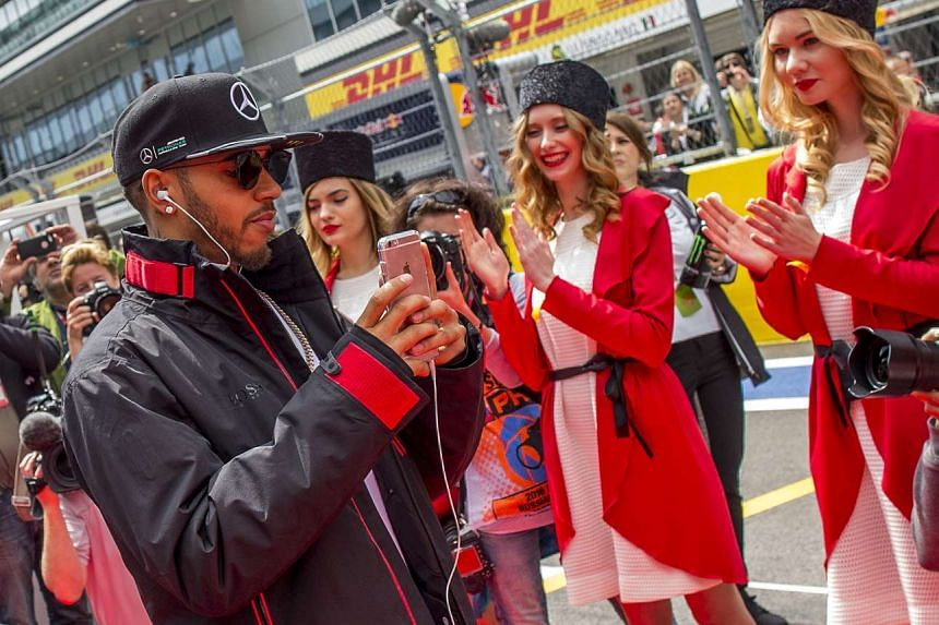 Lewis Hamilton during the drivers parade for the 2016 F1 Russian Grand Prix.