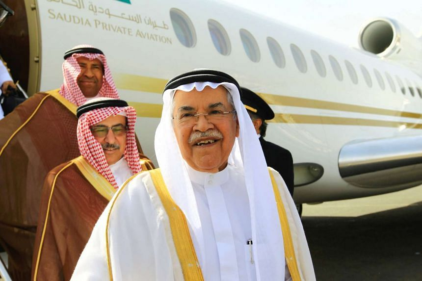 Al-Naimi, seen here (centre) arriving at Khartoum airport in Sudan on May 4, 2016, held the post of oil minister for more than two decades.