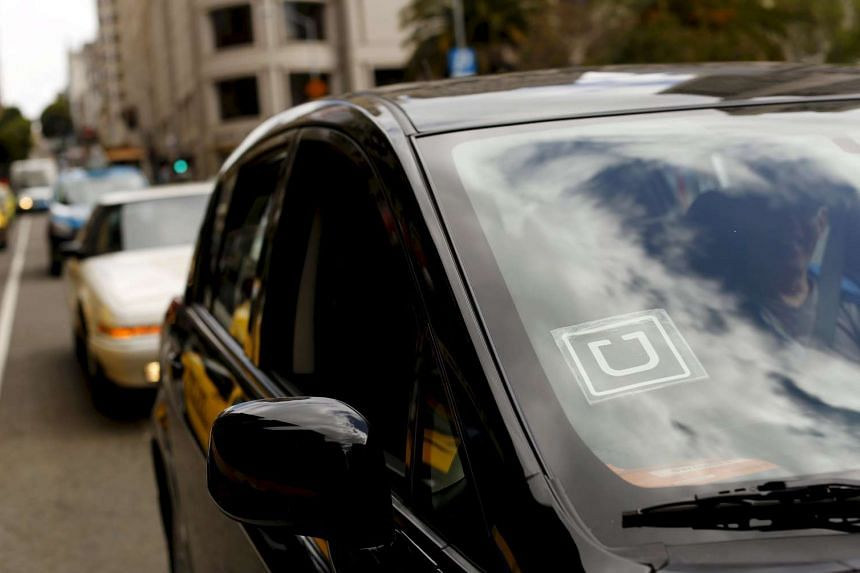 The Uber logo is seen on a vehicle in San Francisco, California.