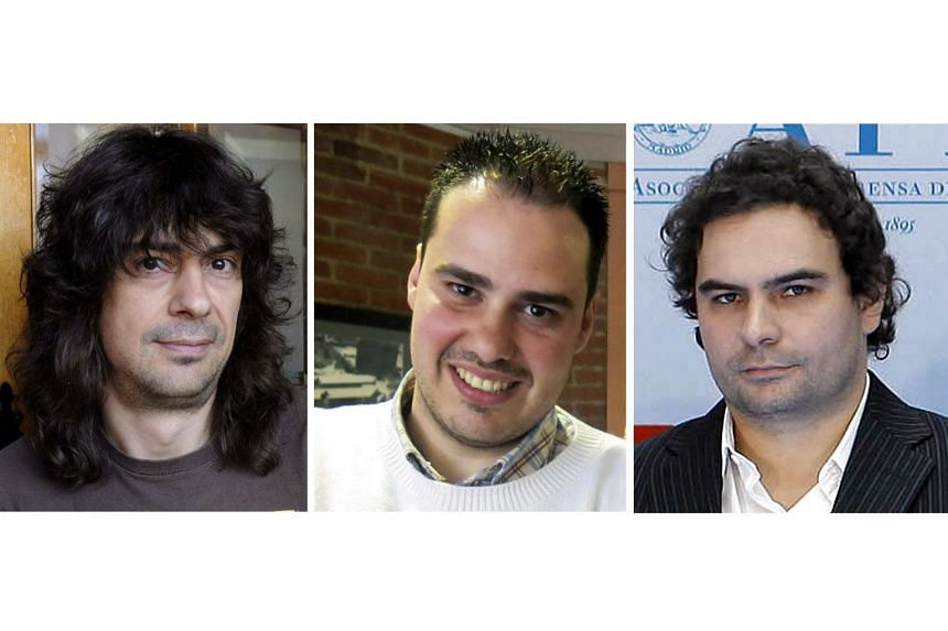 Spanish journalists Jose Manuel Lopez (left), Antonio Pampliega (centre) and Angel Sastre (right).