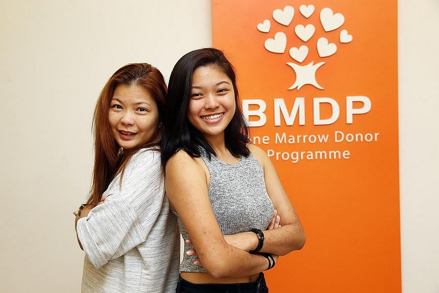 Shermaine with her mum, Madam Lim. The number of donors aged below 25 on the national register has almost doubled, from 2,667 in 2013 to 5,144 last year.
