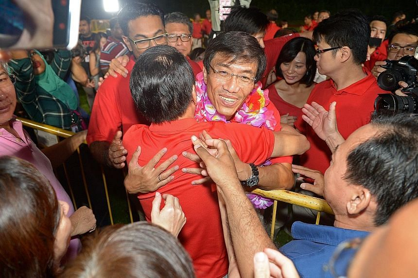 Dr Chee gets a warm show of support at Bukit Gombak Stadium after the results were announced.