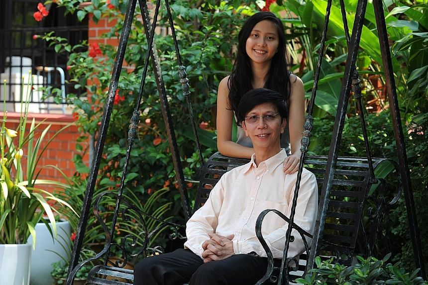 Dr Richard Kwok (seated), with his daughter Kwok Fuyu. Dr Kwok was regarded as stupid in school, but discovered he was dyslexic later in life. He is now Chief Technology Officer at Singapore Technologies Kinetics.