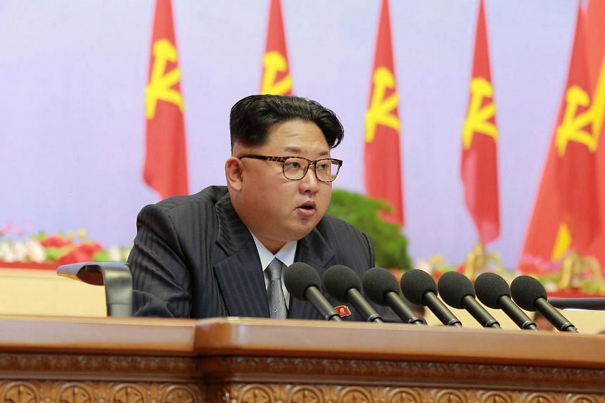 North Korean leader Kim Jong Un speaks during the first congress of the country's ruling Workers' Party in 36 years in Pyongyang.