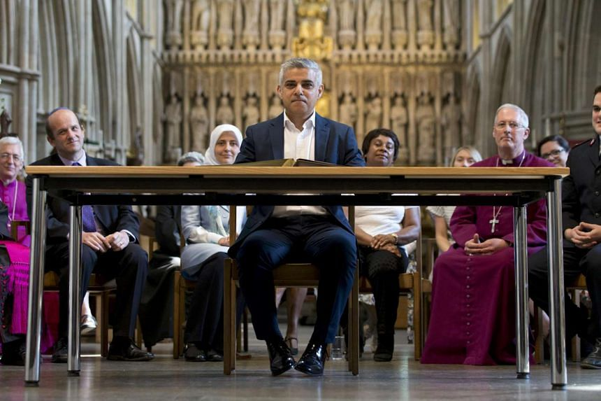 Sadiq Khan attends the signing ceremony for the newly elected Mayor of London, in Southwark Cathedral, London.