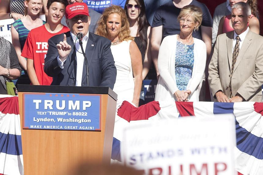 Republican presidential candidate Donald Trump gives a speech during a rally at the The Northwest Washington Fair and Event Center on May 7, 2016, in Lynden, Washington.