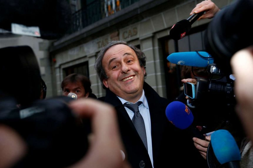 Uefa president Michel Platini speaks to the media after a hearing at the Court of Arbitration for Sport (CAS) in Lausanne, Switzerland, on Dec 8, 2015.