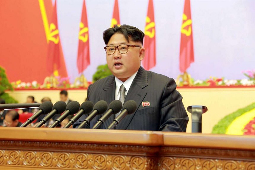 North Korean leader Kim Jong Un speaks during the first congress of the country's ruling Workers' Party in Pyongyang, on May 8, 2016.
