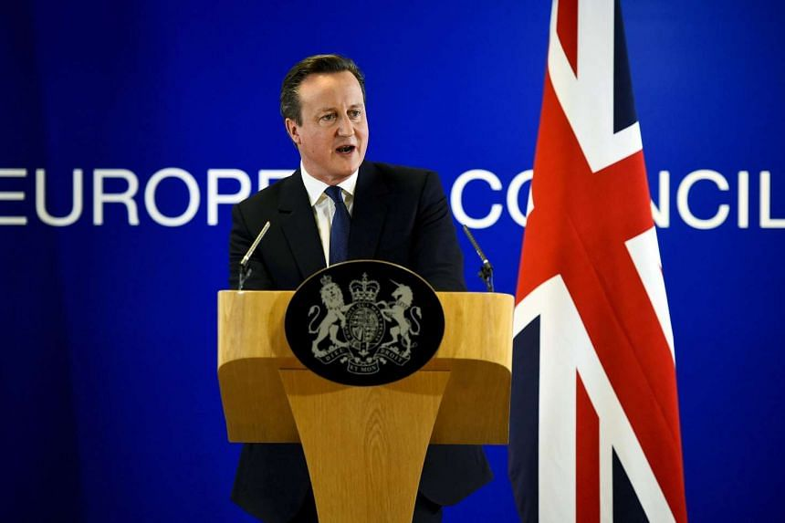 British Prime Minister David Cameron addresses the media after a European Union leaders summit in Brussels, Belgium, on Feb 19, 2016.