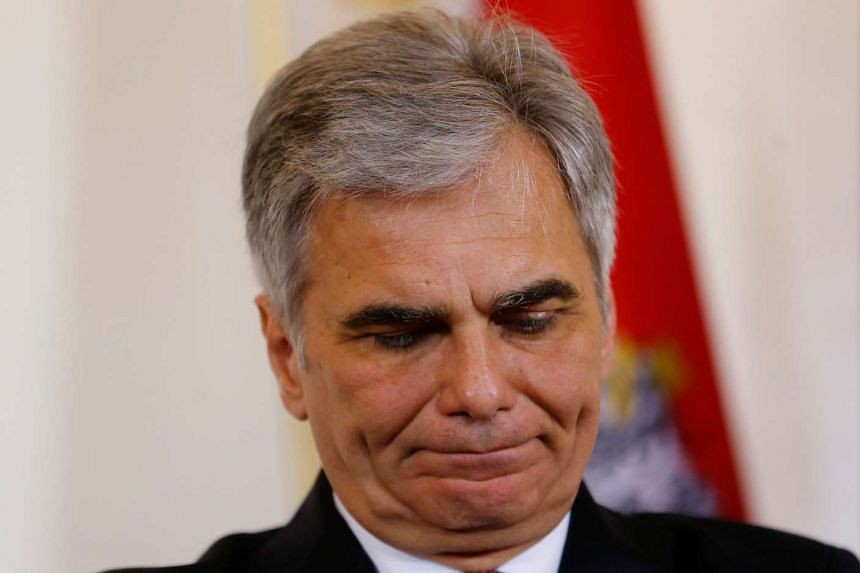 Austrian Chancellor Werner Faymann listens during a news conference in Vienna, Austria, on May 3, 2016.