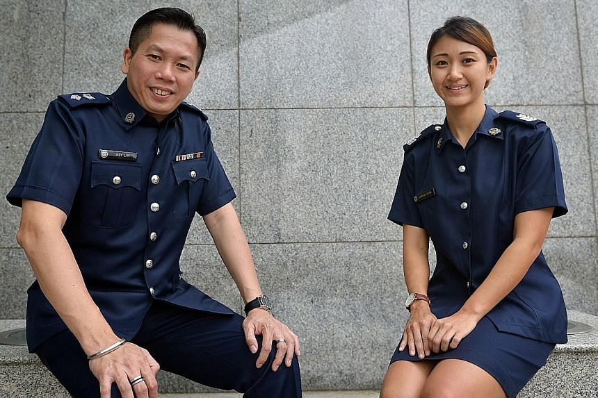 Junior officers like Staff Sgt Seow (top) can expect faster progression. DSP Lim (above) joined the force with O levels 26 years ago.