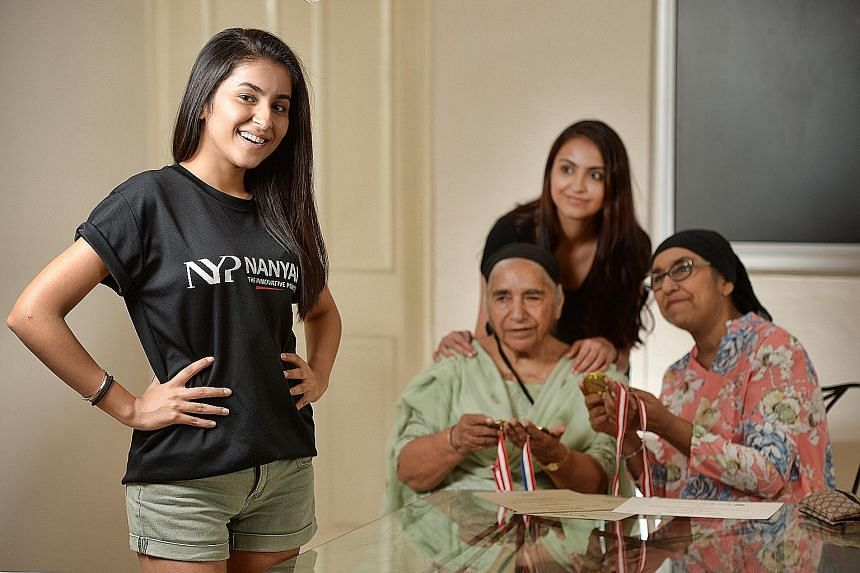(From left) Ms Prabhmeet Kaur; her grandmother Surinder, 78; her sister Dalvin, 27; and her mother Sukhwant, 60. Ms Kaur had to take her O levels twice as her mother had cancer, which affected her studies.