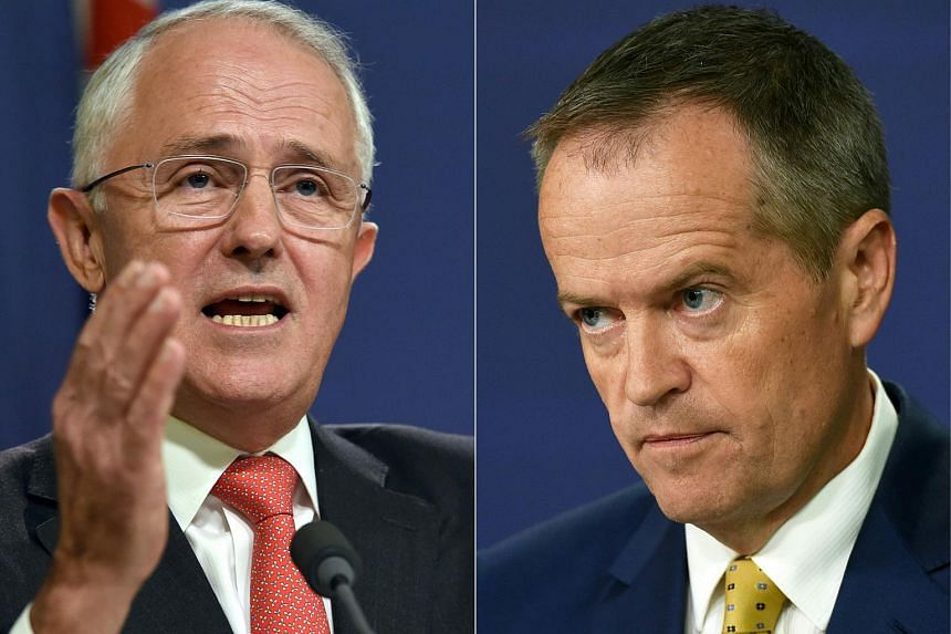 Australian Prime Minister Malcolm Turnbull (left) and Australia's opposition Labor Party leader Bill Shorten.