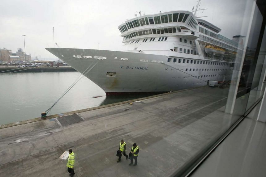 The cruise ship Balmoral is prepared prior to boarding of passengers going on the Titanic Memorial Cruise in Southampton, England, on April 8, 2012.