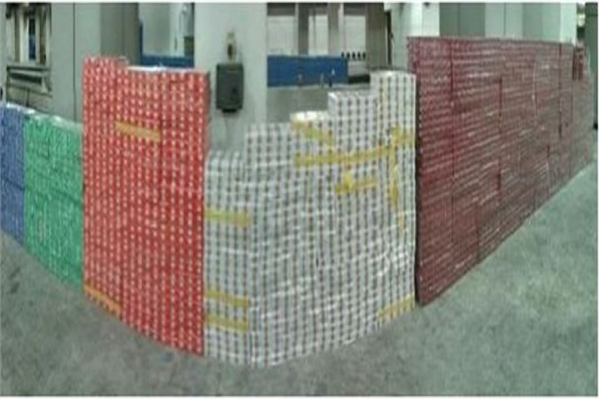 The combined haul of contraband cigarettes seized.