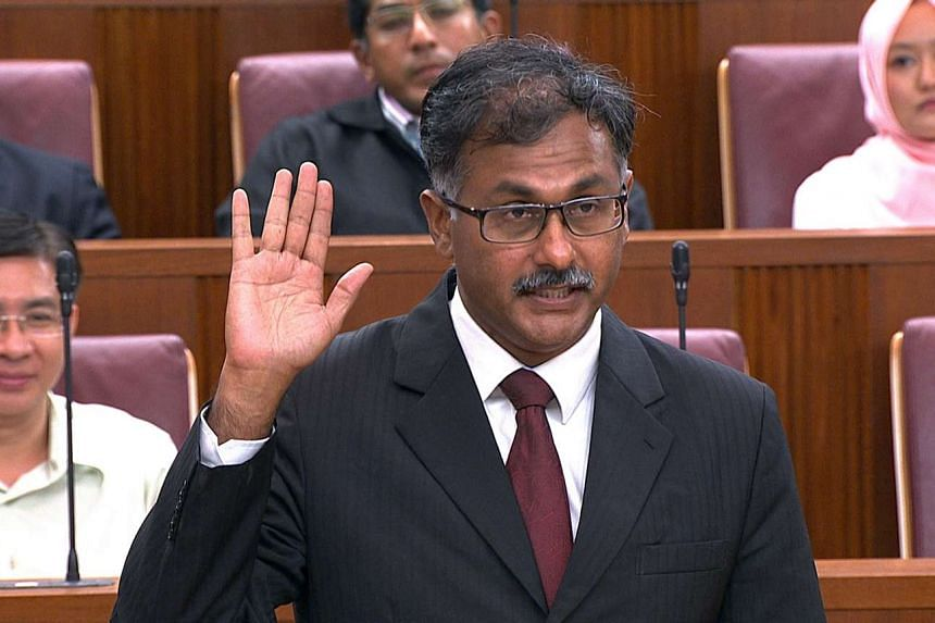 Mr Murali Pillai being sworn in as MP for Bukit Batok in Parliament House on May 9, 2016.