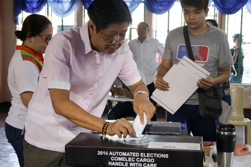 Filipino Vice Presidential Candidate, Senator Ferdinand 'Bongbong' Marcos Jr. casts his vote in the town of Batac, Ilocos Norte province, Northern Philippines.