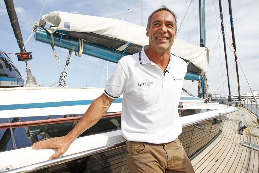 Mike Horn poses in his exploration yacht, Pangaea, on May 6, 2016, in Monaco.