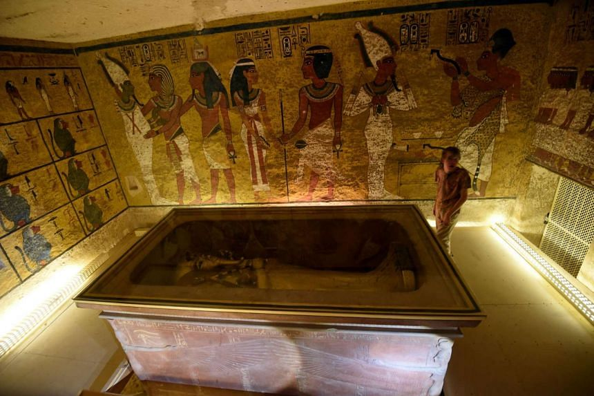 The golden sarcophagus of King Tutankhamun displayed in his burial chamber in the Valley of the Kings near Luxor is seen in a photo taken on April 1, 2016..