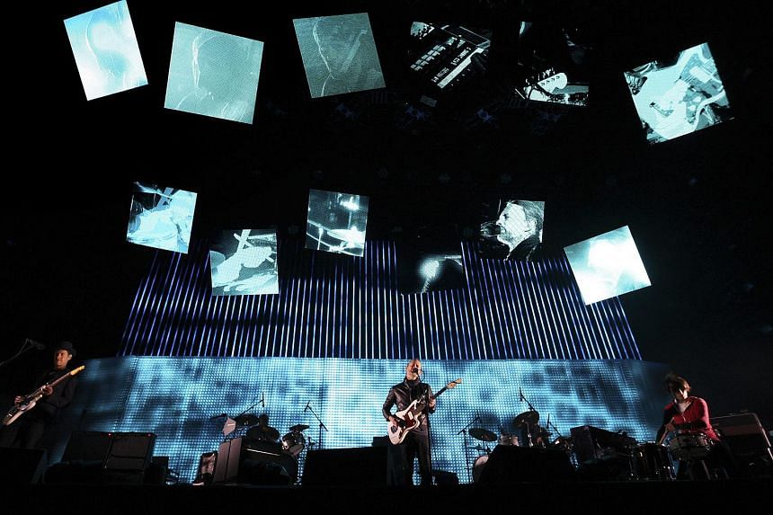 Radiohead performing at the Coachella Valley Music and Arts Festival in Indio, California on April 14, 2012.