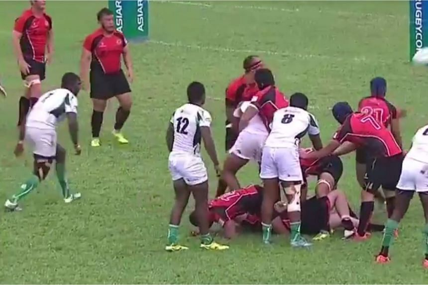 The Singapore rugby team in action against Sri Lanka at the Asia Rugby Championship in Malaysia.