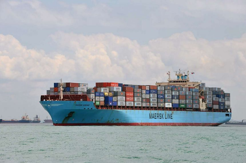 File photo of a container vessel, Maersk Gironde, docked off the PSA Pasir Panjang container terminal in Singapore.
