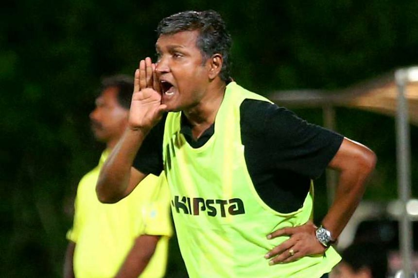 V. Sundramoorthy reacts during the S-League match between Hougang United and Tampines Rovers.