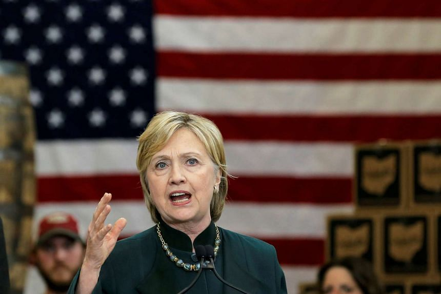 US Democratic presidential candidate Hillary Clinton speaks at a campaign event in Athens, West Virginia, on May 3, 2016.