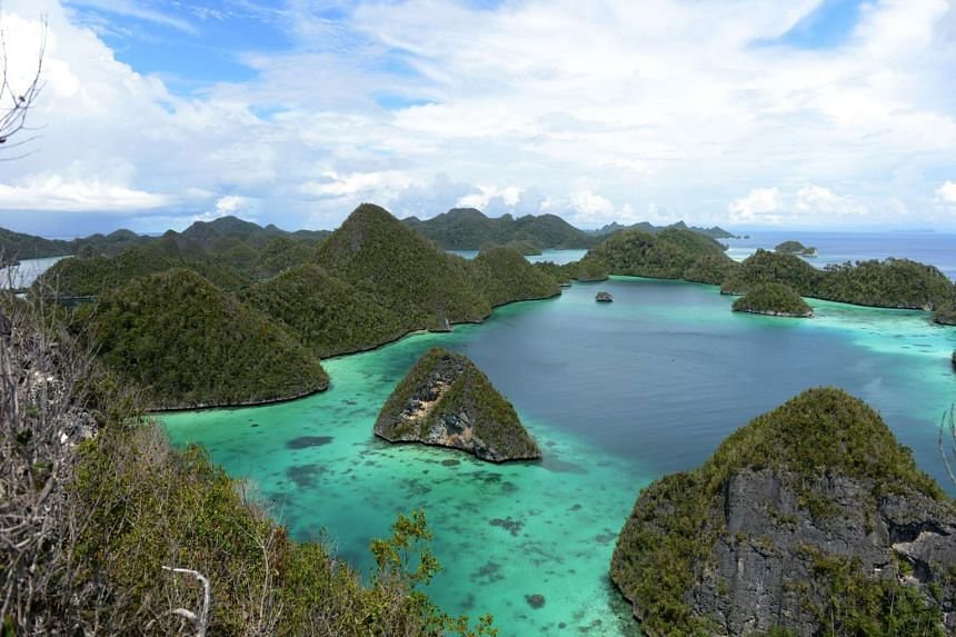 A bird's eye view of the pristine white sand beaches found in the Indonesian islands of Raja Ampat in eastern Indonesia.
